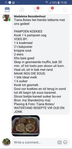 Pampoenkoekies Cookie Press, South African Recipes, Afrikaans, Kos, Veggies, Traditional, Baking, Vegetable Recipes, Bakken