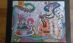 Happy Halloween   Zentangle inspired drawing   by Helen Brown