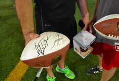 Autographed footballs, a product of your typical #Thuzio experience. Learn more by clicking the pin. #Football #NFL #sports #gifts