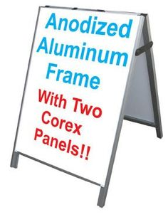 "Aluminum A-Frame 24""x36"" Double Sided Sidewalk Sign w/2 White Corex Panels"