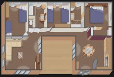 Implantation nautil DUO U.96 3 Chambres + 2 salles de bain + dressing