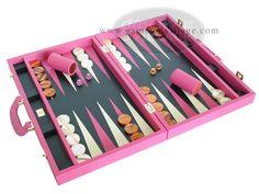 Pink leather backgammon set