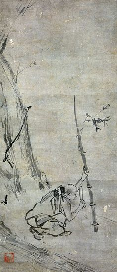 The sixth patriarch cutting the bamboo, by Liang Kai.
