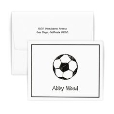 Sport Note. Perfect for those young soccer fans in your life. Also comes in baseball, hockey, football and volleyball motifs. Choose from 10 ink colors. Ships in 24 hours. FREE FedEx Ground Shipping. Create yours today at http://www.giftsin24.com/Sport-Note #stationery #tweens #gifts #personalized #MadeinAmerica