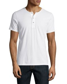 AG Adriano Goldschmied Short-Sleeve Henley T-Shirt, White, Men's, Size: S, Twh