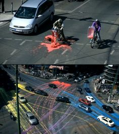 500 liters of water based environmentally-friendly paint on asphalt that was then spread by 2000 cars. Watch it here: http://www.painting.iepe.net/