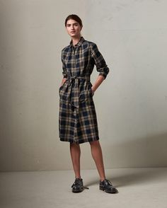 Women's Indigo Check Shirt Dress