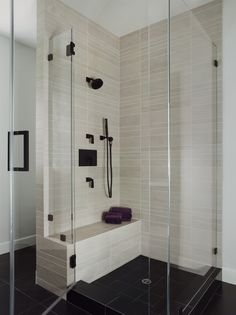 Shower Tile Design, Pictures, Remodel, Decor and Ideas - bathroom shower ideas Bad Inspiration, Bathroom Inspiration, Bathroom Tile Designs, Bath Remodel, Beautiful Bathrooms, Corner Bench, Shower Tiles, Glass Shower, Shower Basin