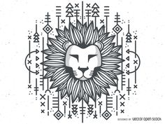 Lion head illustration in black and white featuring hand drawn lines, geometric…
