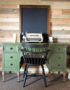 Antique Desk Painted with Miss Mustard Seed's Milk Paint in Boxwood by Cotton Seed Designs for Carver Junk Company | Carver, MN and Minneapolis, MN | Locally handpainted furniture