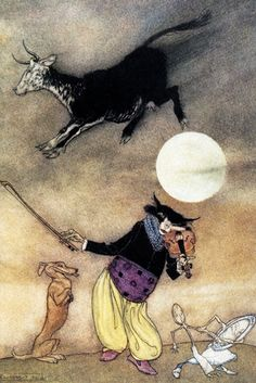 Arthur Rackham Mother Goose The Cow Jumped Over the Moon painting for sale, this painting is available as handmade reproduction. Shop for Arthur Rackham Mother Goose The Cow Jumped Over the Moon painting and frame at a discount of off. Hey Diddle Diddle, Arthur Rackham, Art And Illustration, Book Illustrations, Historical Illustrations, Old Nursery Rhymes, Fairytale Art, Mother Goose, Clip Art