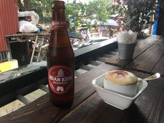 Egg coffee and a local beer in Hanoi on train street. Egg Coffee, Hanoi, Brewery, Beer Bottle, Train, Street, Drinks, Food, Beverages