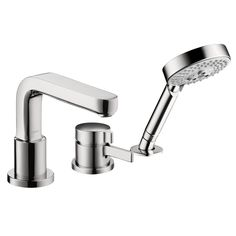 Hansgrohe 04126000 Chrome Metris S Roman Tub Filler Faucet Thermostatic with Diverter, Metal Lever Handle and Multi Function Hand Shower Less Valve