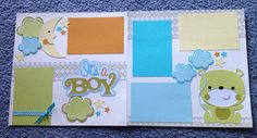 It's a boy 2 page 12x12 layout by DaisyCreationsbyJess on Etsy