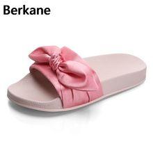 dfcefd313592be Silk Bow Fashion Slides Women Summer Slippers 2018 Sandals Pink Flat  Chinelo Brand Beach Shoes Rihanna