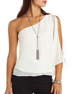 Cape Sleeve Chiffon One Shoulder Top: Charlotte Russe