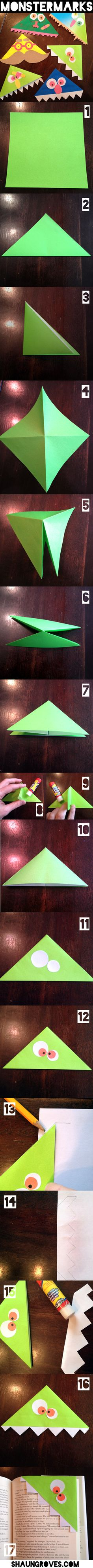 these are awesome... but dang!!!  too so many steps involved!  Monstermarks – Kid Craft Tutorial Preschool Crafts, Craft Activities, Origami Monster Bookmark, Bookmark Craft, Bookmarks For Kids, Corner Bookmarks, Kids Book Marks, Crafts To Do, Easy Crafts For Kids