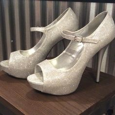Silver Sparkly Heels!  Sparkly silver heels. Worn once, like new. Qupid Shoes Heels