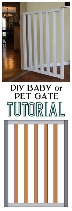 would make a great kitty & dog gate! Complete tutorial with plans and cut list to make a simple, attractive, and inexpensive custom baby or dog gate. Diy Baby Gate, Baby Gates, Dog Gates, Pet Gate, Diy Dog Gate, Decoration, Home Projects, Diy Furniture, Furniture Plans