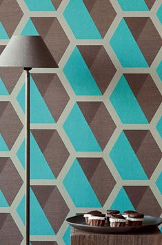 Hexagons are arranged like honeycomb and the shading of grey, brown and turquoise creates a three-dimensional look. The delicate glitter effect adds to the elegant picture.  #interiordesign #wallpaper #turquoisewallpaper Murs Turquoise, Turquoise Walls, Turquoise Wallpaper, Pattern Wallpaper, Honeycomb, Three Dimensional, Delicate, Glitter, Romantic