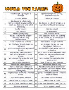 Halloween Would You Rather Questions   - Pinned by @PediaStaff – Please Visit http://ht.ly/63sNt for all our pediatric therapy pins