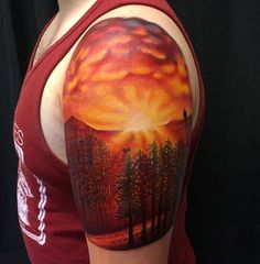 Sunset tattoo. By Chris Hess at Abraxas Tattoos in Lawrence, KS
