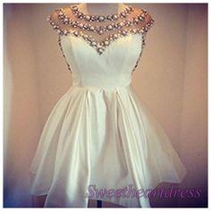 White chiffon beaded sleeveless mini halter a line prom dress for teens, homecoming dress, maxi dress -> http://sweetheartdress.storenvy.com/products/13675380-white-chiffon-beading-sleevesless-mini-halter-a-line-prom-dress