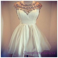 White chiffon beaded sleeveless mini halter a line prom dress for teens, homecoming dress, maxi dress -> http://sweetheartdress.storenvy.com/products/13675380-white-chiffon-beading-sleevesless-mini-halter-a-line-prom-dress