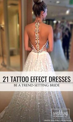 21 Gorgeous Tattoo Effect Wedding Dresses ❤ You will be irresistible, romantic and glamorous in the tattoo effect wedding dress. See more: http://www.weddingforward.com/tattoo-effect-wedding-dresses/ #wedding #dresses