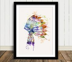 Native American Headdress Indian Watercolor Art by oinkartprints