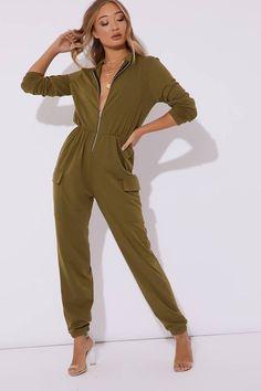 Asylyn Khaki Zip Thru Loop Back Boiler Suit Boiler Suit, Pocket Detail, Strappy Heels, Ireland, Jumpsuit, Zip, Suits, Shopping, Dresses