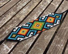 Tribal Patterns, Bead Loom Patterns, Peyote Patterns, Bracelet Patterns, Beading Patterns, Seed Bead Necklace, Seed Bead Jewelry, Beaded Jewelry, Native Beadwork