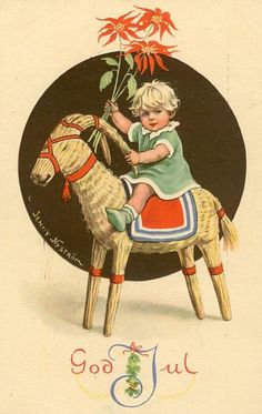 MERRY CHRISTMAS Swedish GOD JUL by Jenny Nystrom | Little Child Rides the Traditional Straw Goat and Carries a Bunch of Poinsettia.