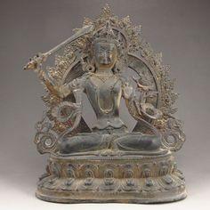 Chinese Bronze Carved Sitting Buddha Statue