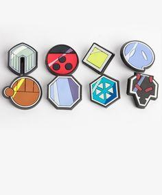 Johto Pokemon badges; (L-R) top row: zephyr, hive, plain, fog; bottom row: storm, mineral, glacier, rising