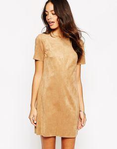 New+Look+Suedette+T-Shirt+Dress