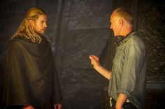 "Thor 2 Movie Stills -- Chris Hemsworth and director Alan Taylor on the set of Marvel's ""Thor: The Dark World' - 2013"