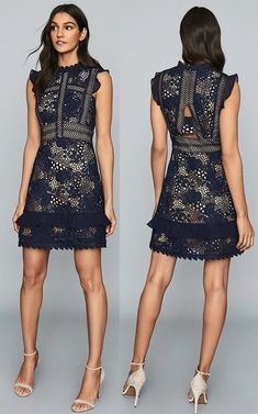 The Lena dress in navy is the epitome of feminine occasionwear and it comes in the season's most coveted trend - lace. It's detailed with chiffon ruffled trims, a subtle A-line skirt that finishes just above the knee and also comes fully lined.  Reiss Navy Lace Dress for Autumn Wedding . What to wear to an Autumn Wedding. What to wear for a Fall Wedding. Autumn Wedding Guest Dresses. Fall Fashion 2020. Fall Wedding Guest Outfits #fashion #lacedress #autumnwedding #fallwedding #reiss…