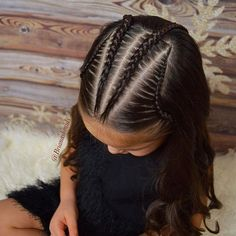 Cornrows, lace braids, and soft curls on this Sunday morning. Lil Girl Hairstyles, Kids Braided Hairstyles, Trendy Hairstyles, Hairstyles Videos, Hairstyles 2016, Braided Updo, Braid And Curls Hairstyles, Teenage Hairstyles, Curly Hair Styles