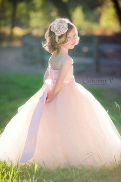 Blush Flower Girl Tutu Dress with Flower Sash by littledreamersinc
