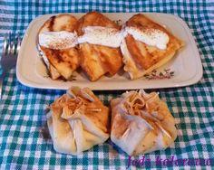 Przepis na naleśniki na słodko - z serem białym i rodzynkami - sakiewki i trójkąty