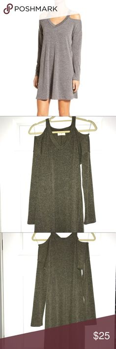 Everly Cold Shoulder Dress Everly swing dress only worn once! Green Marled coloring. Everly Dresses Long Sleeve