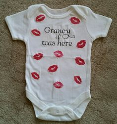 DIY project grandma baby gift idea..onsie..kiss..craft