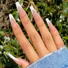 French Tip Acrylic Nails, Bling Acrylic Nails, Acrylic Nails Coffin Short, Simple Acrylic Nails, Square Acrylic Nails, Coffin Shape Nails, Summer Acrylic Nails, Best Acrylic Nails, Long French Tip Nails