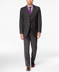 Tommy Hilfiger Charcoal Textured Pindot Slim-Fit Vested Suit