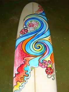 Painted surfboard by Colleen Wilcox