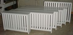 Custom Solid Wood: A set of wooden radiator covers painted to match their trim color. Custom Radiator Covers, Modern Radiator Cover, Solid Wood Furniture, Diy Furniture, Decorative Radiators, May House, Cottage Living Rooms, Guest Bedrooms, Decoration