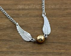 Harry potter necklace,wing necklace,golden snitch necklace,Silver Wings,Champagne Gold Pearl. Magic. ,friendship christmas gift