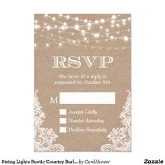 String Lights Rustic Country Burlap Lace RSVP