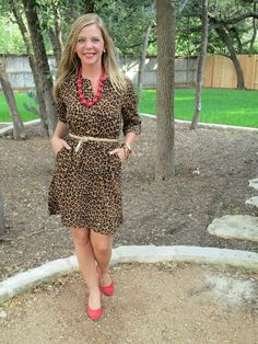 leopard old navy dress, gold belt, red accessories and shoes
